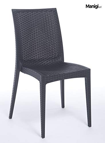 Grandsoleil Boheme Greenpol Chaise empilable Vert, polymère, Anthracite, 53.5 x 49 x 89 cm