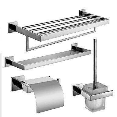 Wghz Badezimmer Regale @ Edelstahl Bad Hardware-Set mit Handtuchablage mit Bar Glasablage Toilettenpapierhalter und Toilettenbürstenhalter
