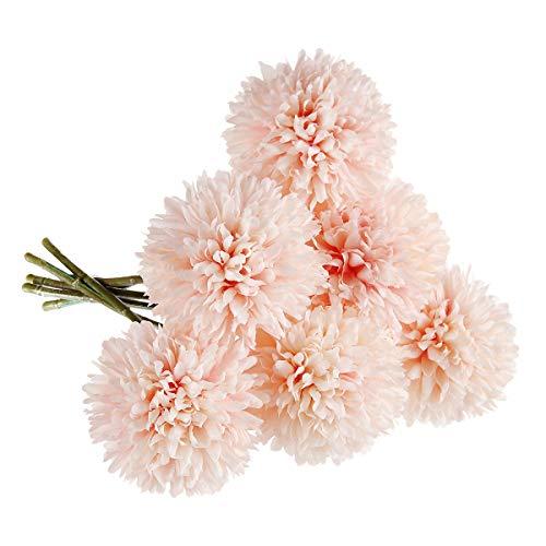 Künstliche Blumen, unechte Blumen Silk Kunststoff Künstliche Hortensien 6 Heads Braut Hochzeit Bouquet für Hausgarten Party Hochzeit Dekoration 6 Stücke (Rosa Champagner)