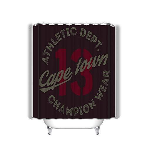 hyjhytj Beach Shower Curtain Cape Town Sport Design Cape Town Sport Design College Sport Team Style Typography Poster Print Fabric Bathroom Decor 60 X 72 Inch