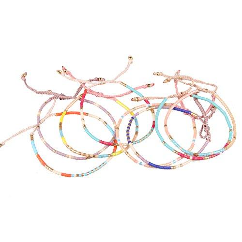 KELITCH 8 pezzi Candy Colore Rocailles Perline Magro Corda Corda Intrecciato Bracciale per Ragazza Donne - #26