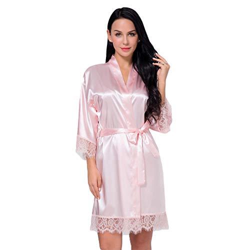 BOYANN Spitze Morgenmantel Damen Kimono Bademäntel Satin Kurz Robe Nachtwäsche