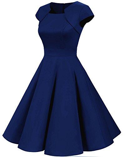 Homrain Damen 50er Vintage Retro Kleid Party Kurzarm Rockabilly Cocktail Abendkleider Royal Blue