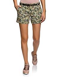 dcfb997653 oodji Ultra Mujer Pantalón Corto de Algodón con Cinturón