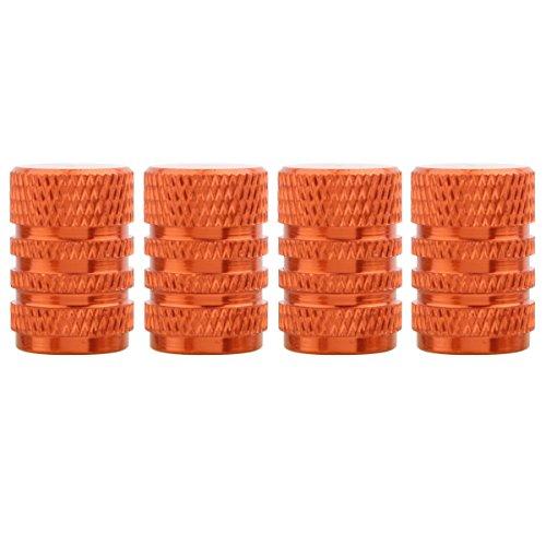 TOMALL Cappucci per stelo valvola in alluminio stile pneumatico rotondo arancione per auto moto