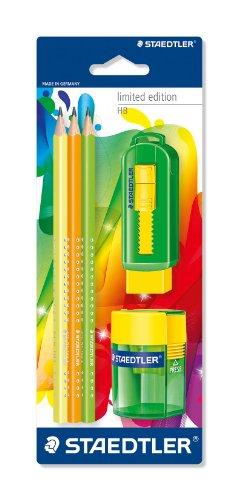 Staedtler Bleistift Set, 3 Bleistifte dreikant, 1 Spitzer, 1 Radierer, 133 SBK3P3