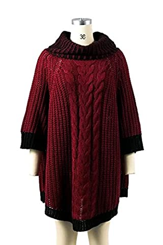 CHLXI Lady Irregular Loose Sweater Long Section Fashionable,Red-OneSize