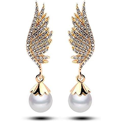 Orecchini di perle Swarovski Elements ali eleganti