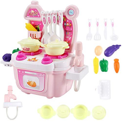 Toyvian Küchenspielzeug Set Kunststoff Mini Simulation Küche Spielhaus Kinder Rollenspiel Spielküche Zubehör (Rosa)