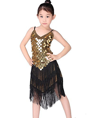 te Kleid Kinder Latin Active Wear Kinder Salsa Ballroom Dress Roundcoin-Gold 130 ()