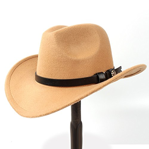 Fucaiqian Hut Western Cowboy Hut für Frauen Männer Lady Filz Cowgirl Sombrero Caps Leder (Farbe : Khaki, Größe : 56-58cm)