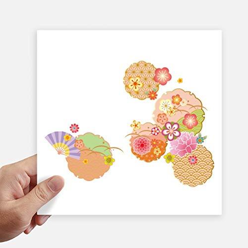 DIYthinker Ventilador Plegable del patrón Sakura geometría Cuadrada Pegatinas Pared de 20 cm Maleta...