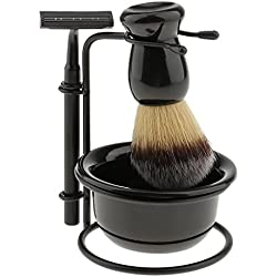 Segolike Anself 4 in 1 Men's Manual Razor Set Stainess Steel Stand Holder Wet Shaving Beard Razor Shaving Brush Bowl