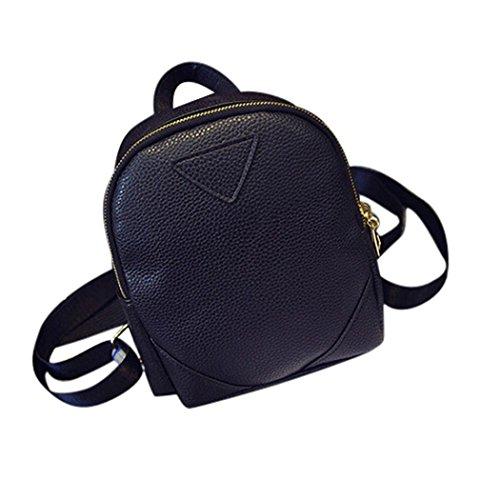 BZLine® Frauen Neue Frauen-Weave Spielraum-Schulter-Beutel-Rucksack Geldbeutel Schwarz
