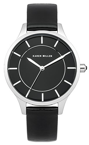 Karen Millen Women's Quartz Watch with Black Dial Analogue Display and Black Leather Strap KM133B