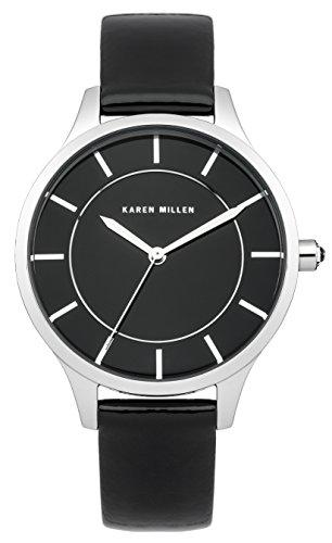 Karen Millen Women's Quartz Watch with Black Dial Analogue Display and Black Leather Strap KM133B