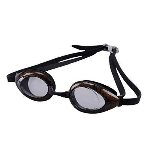 Du bist der Beste Schwimmbrille Mann Frau Wettbewerb Anti-uv Nicht leck wasserdicht Anti-Fog silikon einstellbare Muster Indoor Outdoor (Color : Black)