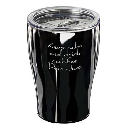 elasto Coffee to Go Becher Personalisierter Kaffeebecher mit Namen 360ml aus Edelstahl Doppelwandiger Trinkbecher Perfekt für Kaffeemaschinen (Schwarz)