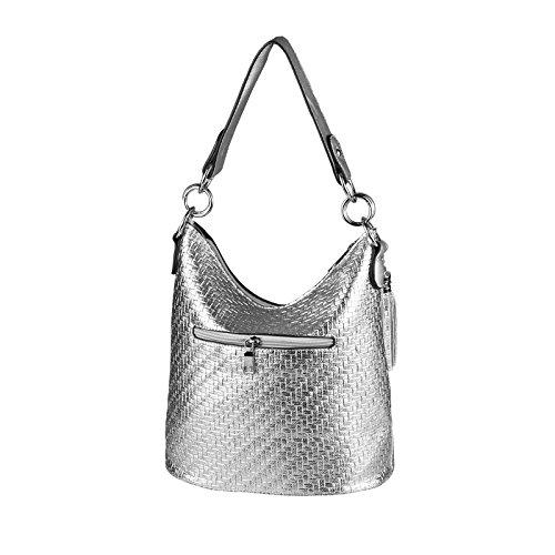 OBC DAMEN TASCHE HOBO-BAG Metallic Shopper Umhängetasche Handtasche Schultertasche Henkeltasche Beuteltasche CrossOver Tote-Bag (Black 29x25x17) Silber 33x25x17