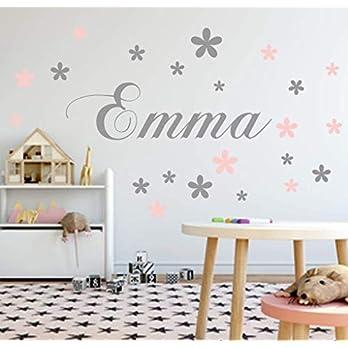 Wandschnörkel® Aufkleber HM~AA301 Kindernamen +12teiliges Blumen Set Wunsch Namen Wunschnamen Mädchen