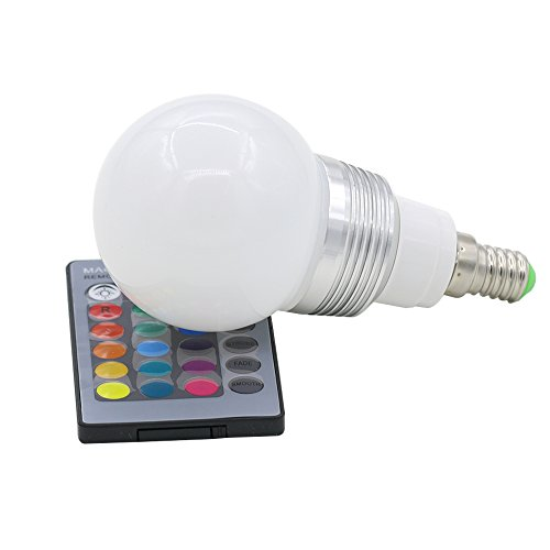 SANWOOD RGB LED Licht Farbwechsel Lampe 16Farben 3W E27+ Fernbedienung mit 24Tasten Controller, blau, e14, 3.0 wattsW 265.0 voltsV -
