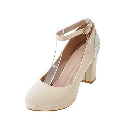 AgooLar Damen Hoher Absatz PU Eingelegt Schnalle Schließen Zehe Pumps Schuhe, Cremefarben, 42