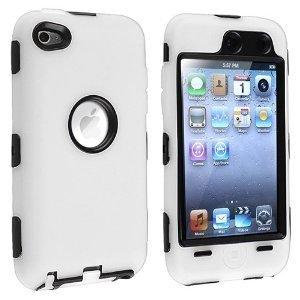 Unbekannt Hybrid Fall Kompatibel mit Apple iPod Touch 4. Generation, Weiß/Schwarz Ipod Touch 4 Hybrid