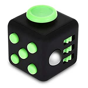 Fidget Cube Relieves Stress and Anxiety Attention Funny Zindoo Fidget Toys All At Your Finger Tips For ADHD OCD (Black and Green)