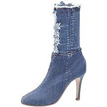 LuckyGirls Botas Denim para Mujer Moda Botitas Vaqueros Rotos Botas de Media Caña Zapatos de Tacón