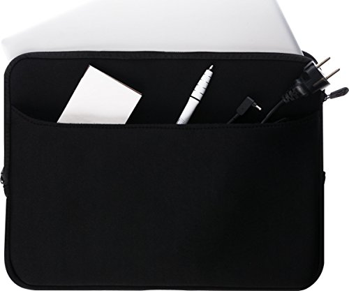 honju Notebook Neopren Tasche - Schutzhülle für 15,6 Zoll Tasche für Convertible Laptop [Universal | Große Außentasche | Reißverschluss | Weiches Innenfutter] - schwarz