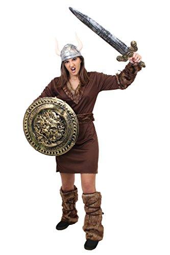 ILOVEFANCYDRESS Viking Frauen KOSTÜM VERKLEIDUNG MIT Schild +Schwert +SILBERNEM Helm= 5 VERSCHIEDENEN GRÖSSEN= PERFEKT FÜR Game Off Thrones ODER Fasching UND Karneval Unisex = - Viking Schild Kostüm