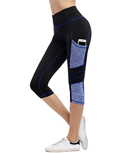 IMIDO Women's Yoga Capri Pants Sport Tights Workout Running Mesh Leggings with Side Pocket (Capri Pants, XL)