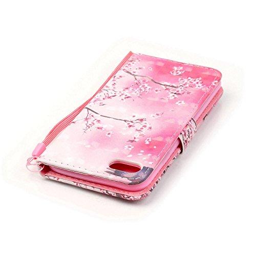 iPhone 7étui portefeuille en cuir pour livre, newstars léger à rabat strass Bling Diamant Strass PU Case Design Coque Protège la peau étui en cuir pour Téléphone Portable iPhone 77g + 1protection  Diamond-Pink&Plum Flower