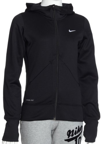 Nike kinder Long Sleeve hoody fleece PHENOM FLEECE JACKET, Black/Black/(White), M, 381945-010 (Für Mädchen Spandex Nike)