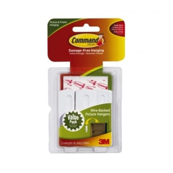Command 3M Wire Backed Picture Hooks( 3 Hangers + 6 Large Strips)