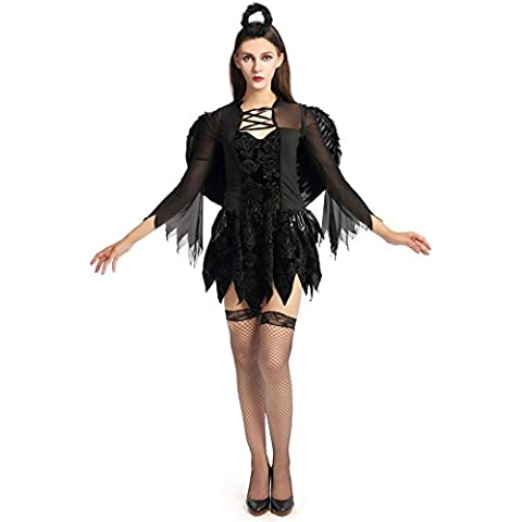 Sexy Ladies Dark Angel Cosplay Costume di Halloween Carnival Film Role-Playing Vampire Devil adulto Tentazione uniforme con gonna, copricapo e Ali