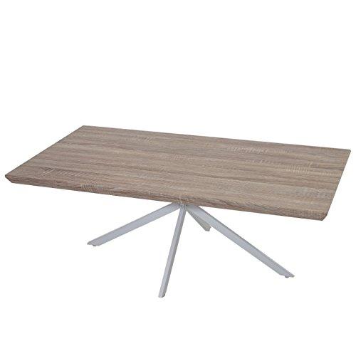 Table Basse de Salon KOS T577, FSC 40x110x60cm ~ chêne, Pieds métalliques clairs
