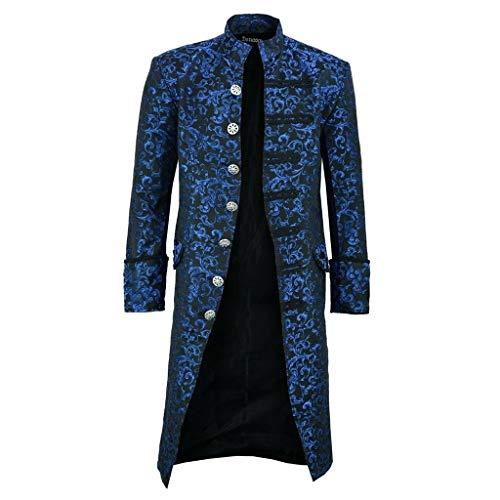 Subfamily Halloween Kostüm Herren Punk-Stil Vintage Robe mit Knöpfen Stehkragen Bedruckte Mäntel für Herren Lang Mittelalter Mottoparty Maskerade (XL, Blau) -