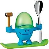 WMF McEgg Eierbecher mit Löffel, Kunststoff, Edelstahl Cromargan poliert, spülmaschinengeeignet, H 11cm, blau