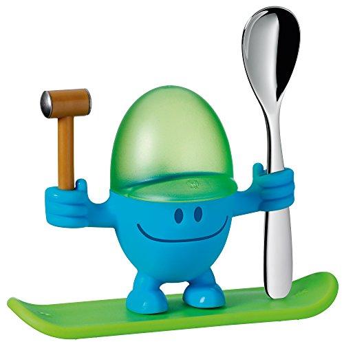 WMF McEgg Eierbecher, mit Löffel, Kunststoff, Cromargan Edelstahl poliert, spülmaschinengeeignet, H 11 cm, blau - Egg Cup