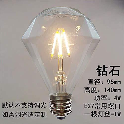 Led-Glühlampen Led-Glühlampenled-Lampen Glühbirnen Alambre De Tungsteno Edison Led Filamento Edison Alambre De Tungsteno De Imitación, Diamante Plano 4W, 2700K (Blanco Cálido) -