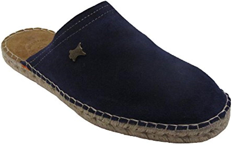 1313 - Zueco piel yute azul marino -