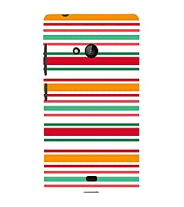 FUSON Horizontal Thin Colorful Lines 3D Hard Polycarbonate Designer Back Case Cover for Microsoft Lumia 540 Dual SIM