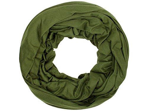 Sciarpa a tubo circolare in viscosa, foulard da donna leggero e morbido estate primavera autunno inverno loop anello ragazze colorati stola accessorio moderno lifestyle, SCH-920a-t:verde SCH-920f