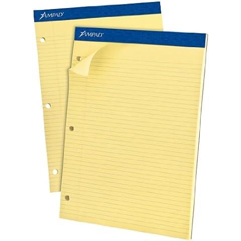 Evidence Dual Rule Narrow/Margin Pad, 8-1/2 x 11-3/4, Canary, 100 Sheets