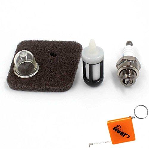 Preisvergleich Produktbild HURI Zündkerze + Luftfilter + Benzinfilter + Primer Pumpe Passend für STIHL FC55 FS38 FS45 FS46 FS55 HS45 KM55 HL45 Rasentrimmer 4140 124 2800