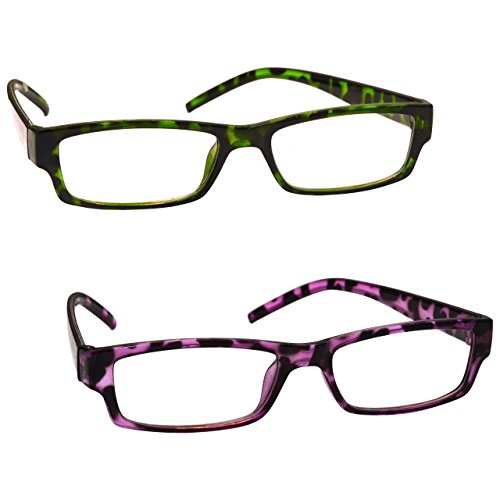 The Reading Glasses Company Green Purple Tortoiseshell Womens Ladies UVR2PK009_009PP Strength +2.00 by The Reading Glasses Company