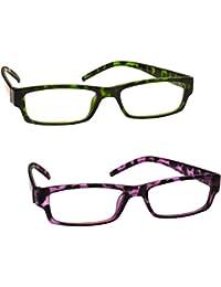 La Compañía Gafas De Lectura Verde Púrpura De La Concha Pack 2 Mujeres Señoras UVR2PK009_009PP Dioptria +1,50