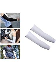 Protección solar enfriamiento deportes al aire libre refrigerador mangas del brazo par 2 piezas para Ciclismo/bici/senderismo/Golf/Baloncesto/running/Fútbol/Basketball Shooting - blanco