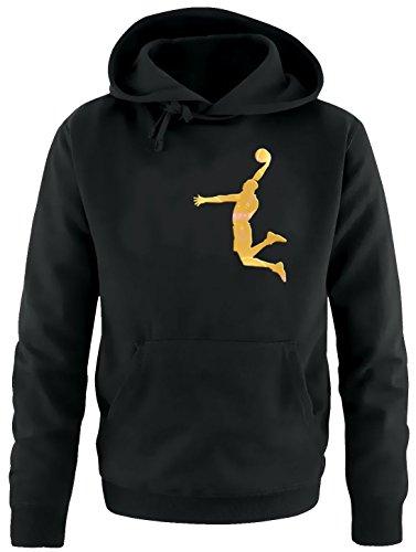 DUNK Basketball Slam Dunkin Kinder Sweatshirt mit Kapuze HOODIE schwarz-gold, Gr.152cm